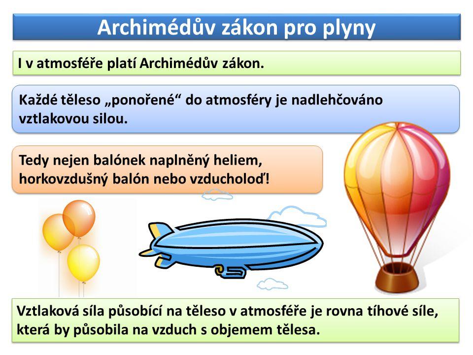 """Archimédův zákon pro plyny I v atmosféře platí Archimédův zákon. Každé těleso """"ponořené"""" do atmosféry je nadlehčováno vztlakovou silou. Tedy nejen bal"""