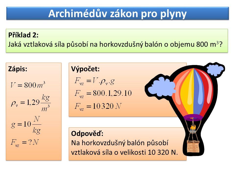 Archimédův zákon pro plyny Příklad 2: Jaká vztlaková síla působí na horkovzdušný balón o objemu 800 m 3 ? Příklad 2: Jaká vztlaková síla působí na hor