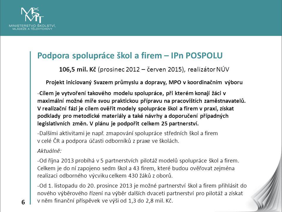 6 Podpora spolupráce škol a firem – IPn POSPOLU 106,5 mil. Kč (prosinec 2012 – červen 2015), realizátor NÚV Projekt iniciovaný Svazem průmyslu a dopra