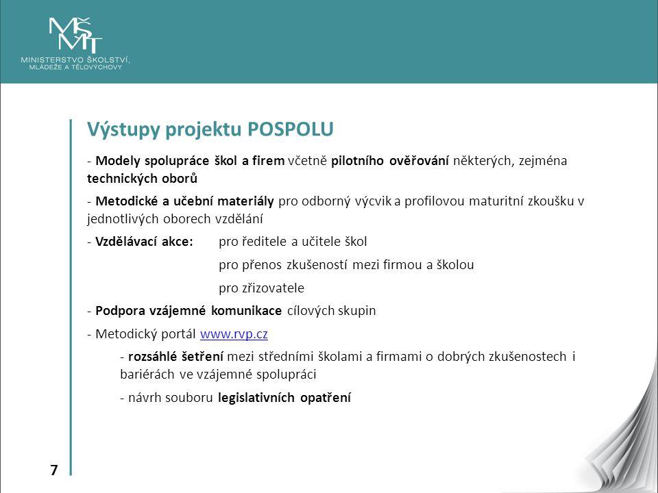 7 Výstupy projektu POSPOLU - Modely spolupráce škol a firem včetně pilotního ověřování některých, zejména technických oborů - Metodické a učební mater