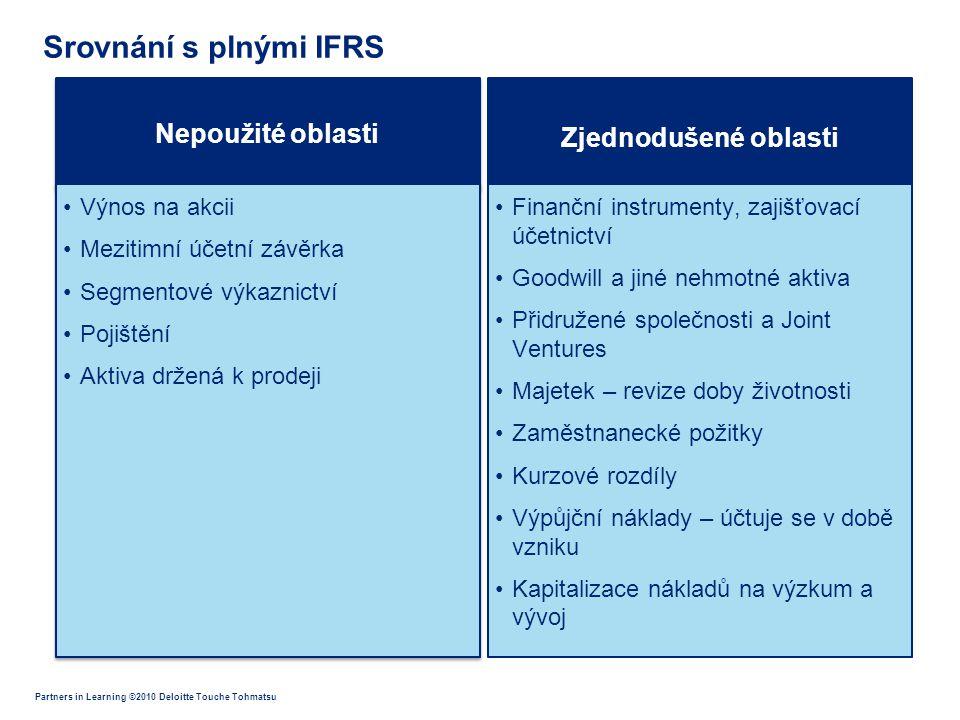 Partners in Learning ©2010 Deloitte Touche Tohmatsu Nepoužité oblasti •Výnos na akcii •Mezitimní účetní závěrka •Segmentové výkaznictví •Pojištění •Ak