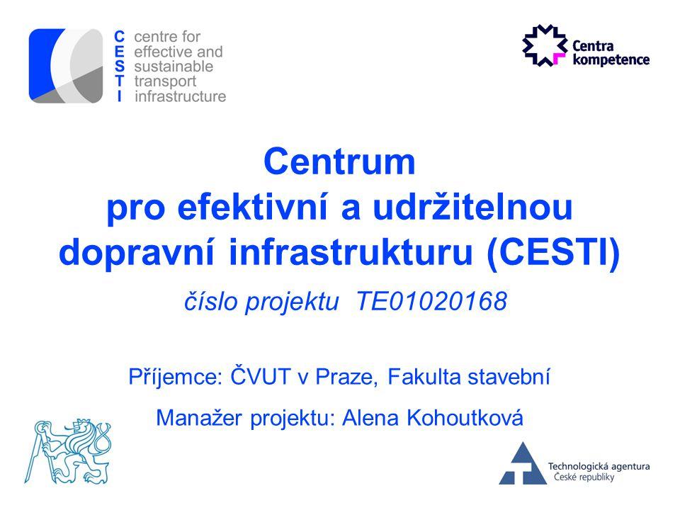 Centrum pro efektivní a udržitelnou dopravní infrastrukturu (CESTI) číslo projektu TE01020168 Příjemce: ČVUT v Praze, Fakulta stavební Manažer projekt