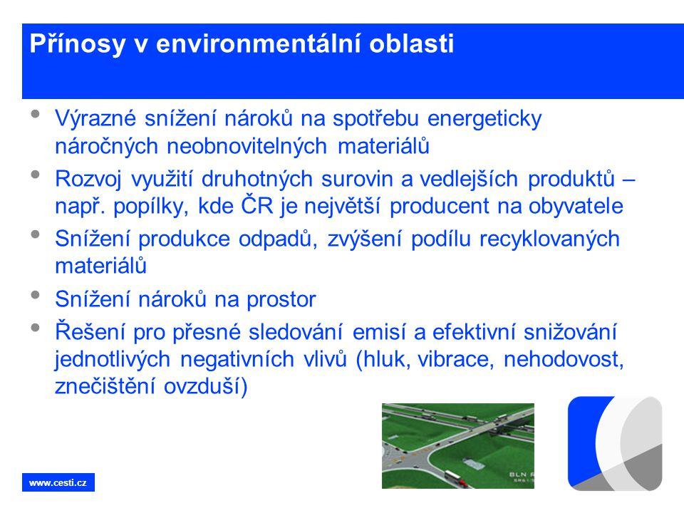 www.cesti.cz Přínosy v environmentální oblasti • Výrazné snížení nároků na spotřebu energeticky náročných neobnovitelných materiálů • Rozvoj využití d