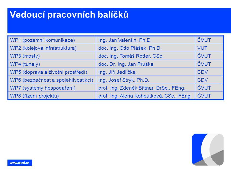 www.cesti.cz Vedoucí pracovních balíčků WP1 (pozemní komunikace)Ing. Jan Valentin, Ph.D.ČVUT WP2 (kolejová infrastruktura)doc. Ing. Otto Plášek, Ph.D.
