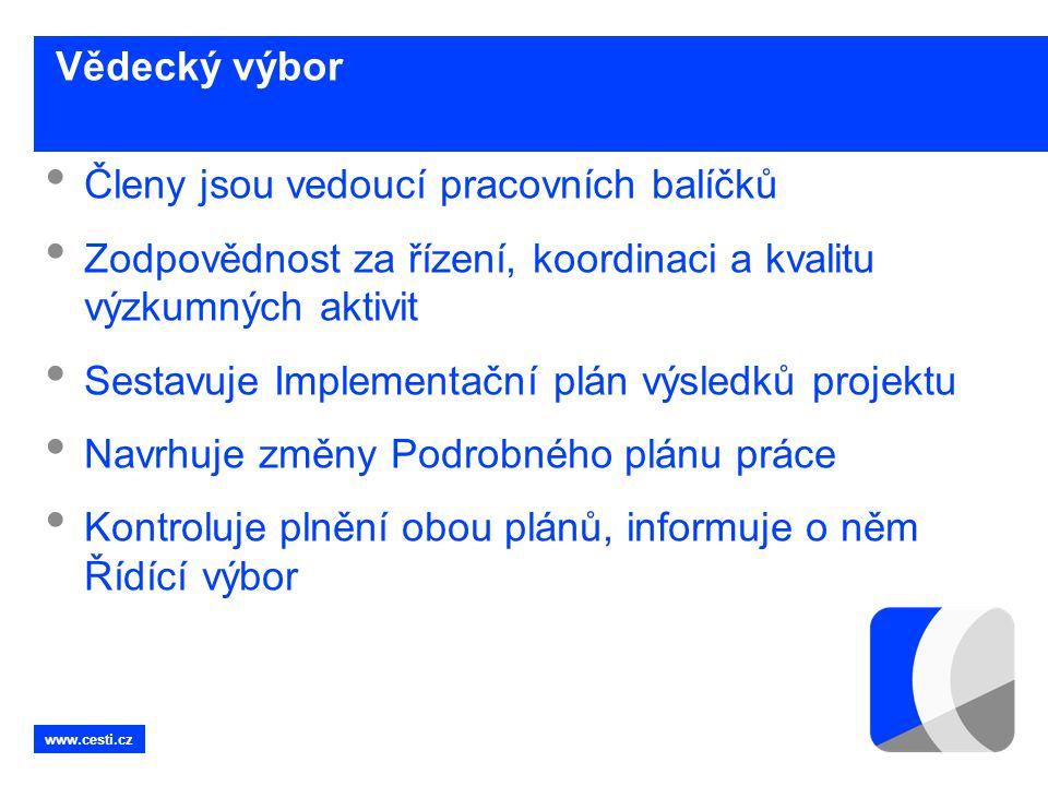 www.cesti.cz Vědecký výbor • Členy jsou vedoucí pracovních balíčků • Zodpovědnost za řízení, koordinaci a kvalitu výzkumných aktivit • Sestavuje Imple