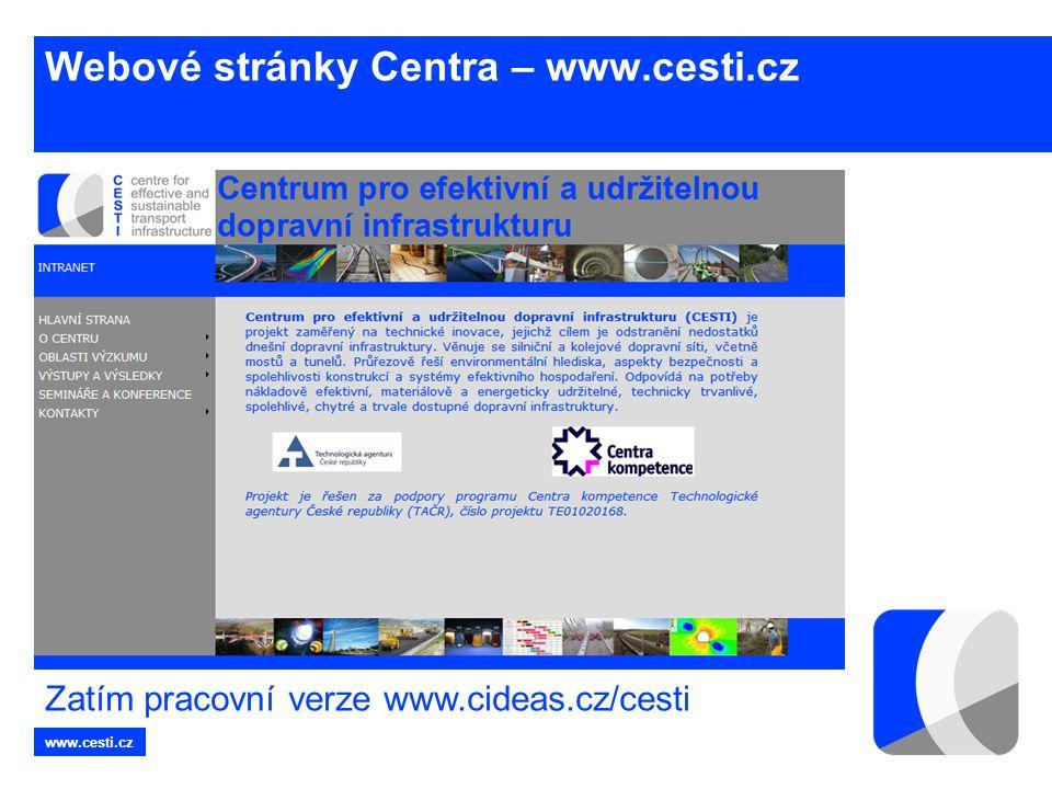 www.cesti.cz Webové stránky Centra – www.cesti.cz Zatím pracovní verze www.cideas.cz/cesti