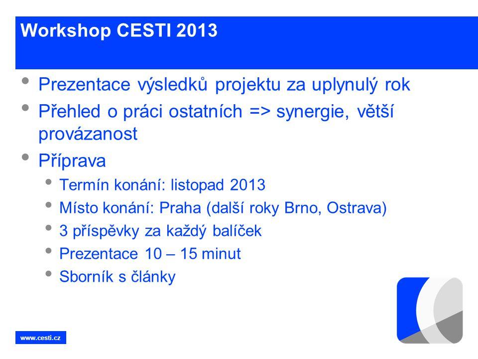 www.cesti.cz Workshop CESTI 2013 • Prezentace výsledků projektu za uplynulý rok • Přehled o práci ostatních => synergie, větší provázanost • Příprava