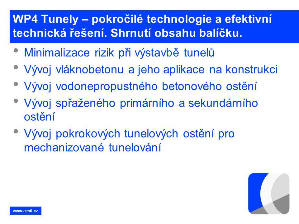 www.cesti.cz WP4 Tunely – pokročilé technologie a efektivní technická řešení. Shrnutí obsahu balíčku. • Minimalizace rizik při výstavbě tunelů • Vývoj