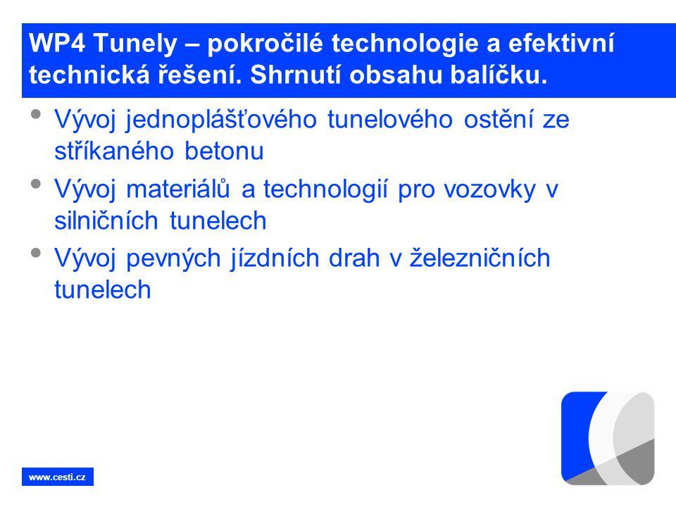 www.cesti.cz WP4 Tunely – pokročilé technologie a efektivní technická řešení. Shrnutí obsahu balíčku. • Vývoj jednoplášťového tunelového ostění ze stř