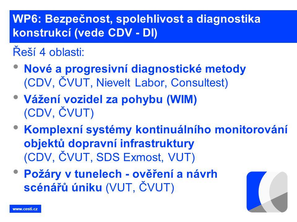 www.cesti.cz WP6: Bezpečnost, spolehlivost a diagnostika konstrukcí (vede CDV - DI) Řeší 4 oblasti: • Nové a progresivní diagnostické metody (CDV, ČVU