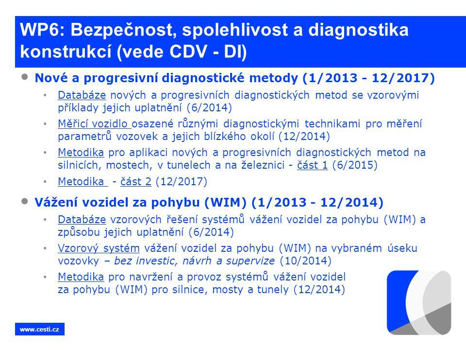 www.cesti.cz WP6: Bezpečnost, spolehlivost a diagnostika konstrukcí (vede CDV - DI) • Nové a progresivní diagnostické metody (1/2013 - 12/2017) • Data