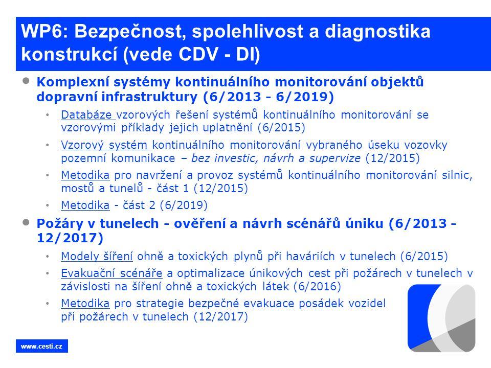 www.cesti.cz WP6: Bezpečnost, spolehlivost a diagnostika konstrukcí (vede CDV - DI) • Komplexní systémy kontinuálního monitorování objektů dopravní in