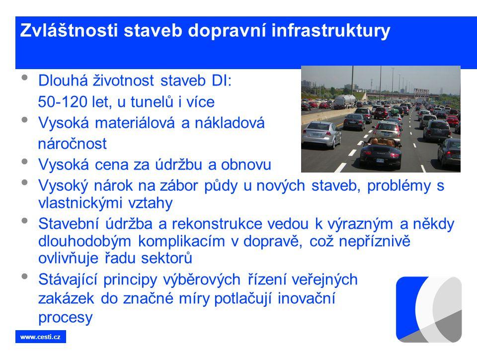 www.cesti.cz Zvláštnosti staveb dopravní infrastruktury • Dlouhá životnost staveb DI: 50-120 let, u tunelů i více • Vysoká materiálová a nákladová nár