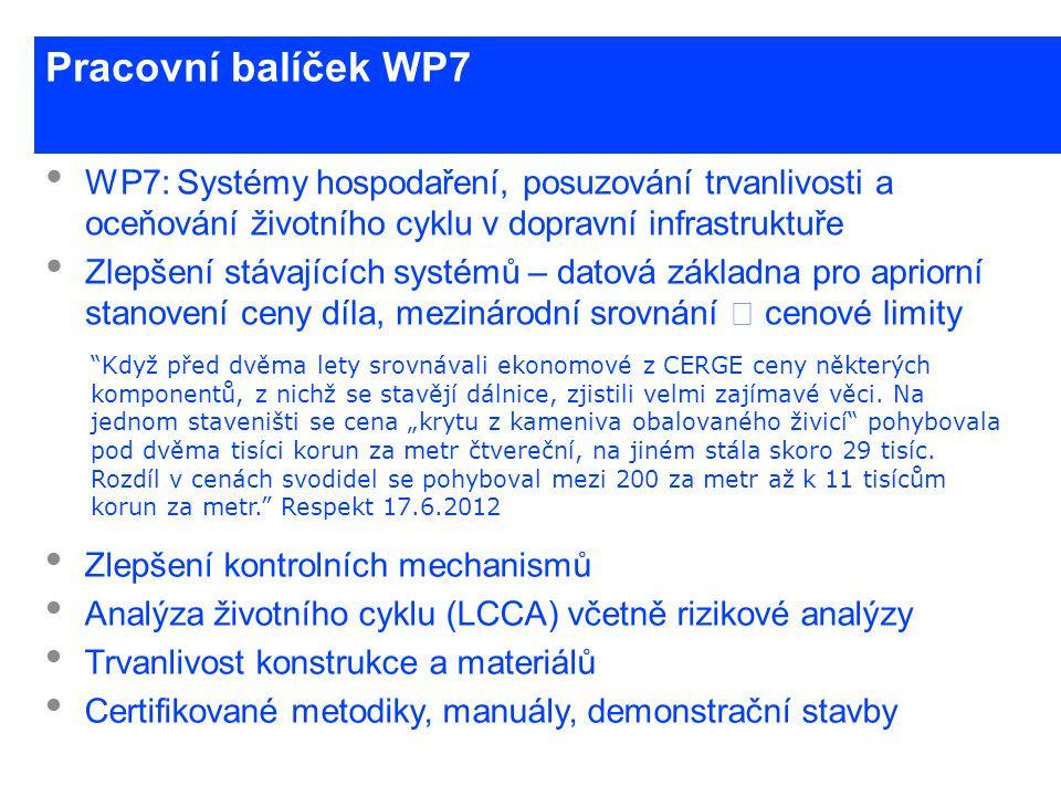 www.cesti.cz Pracovní balíček WP7 • WP7: Systémy hospodaření, posuzování trvanlivosti a oceňování životního cyklu v dopravní infrastruktuře • Zlepšení