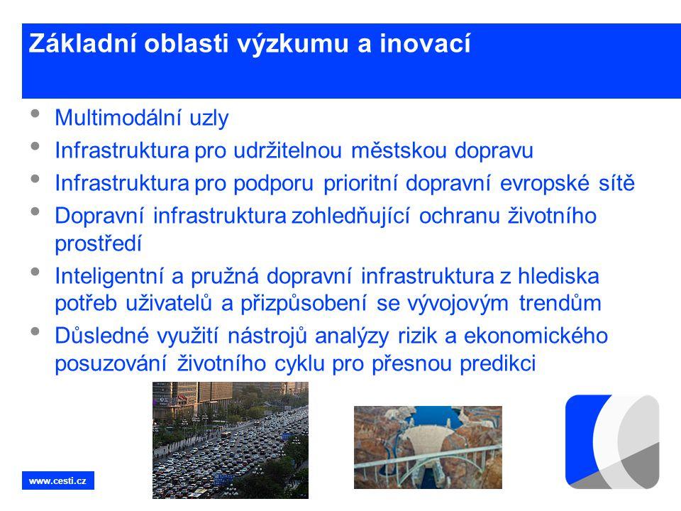 www.cesti.cz Základní oblasti výzkumu a inovací • Multimodální uzly • Infrastruktura pro udržitelnou městskou dopravu • Infrastruktura pro podporu pri