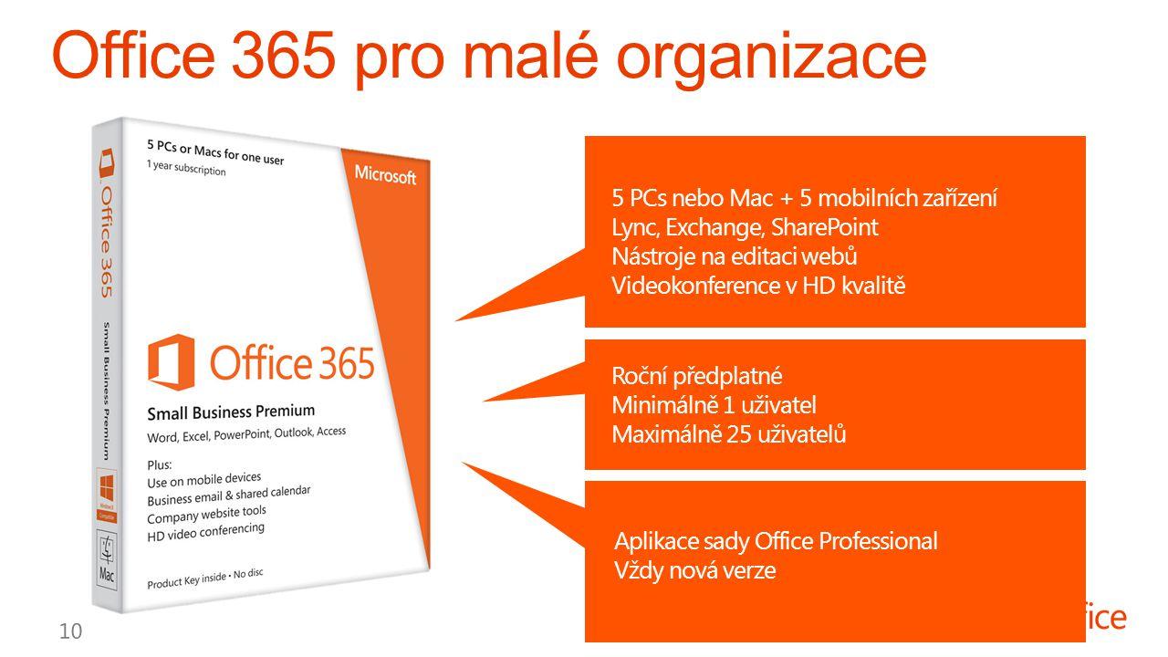 5 PCs nebo Mac + 5 mobilních zařízení Lync, Exchange, SharePoint Nástroje na editaci webů Videokonference v HD kvalitě Roční předplatné Minimálně 1 uživatel Maximálně 25 uživatelů Aplikace sady Office Professional Vždy nová verze