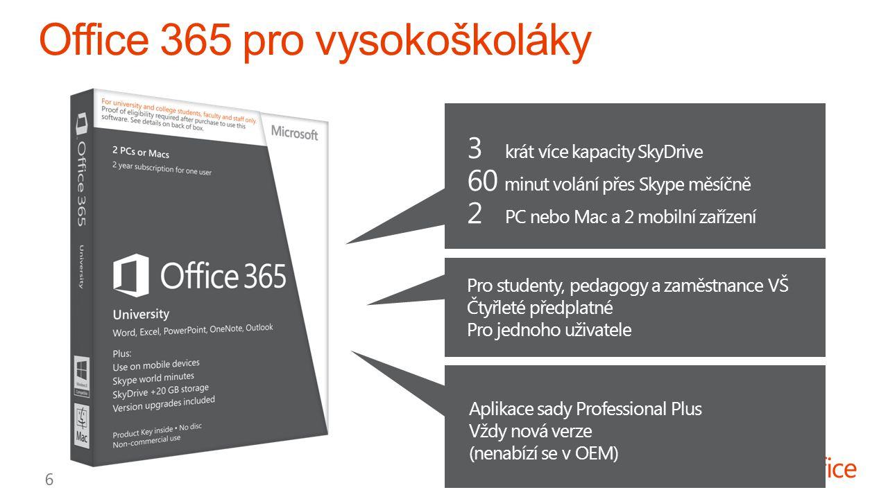 3 krát více kapacity SkyDrive 2 PC nebo Mac a 2 mobilní zařízení 60 minut volání přes Skype měsíčně Pro studenty, pedagogy a zaměstnance VŠ Čtyřleté předplatné Pro jednoho uživatele Aplikace sady Professional Plus Vždy nová verze (nenabízí se v OEM)