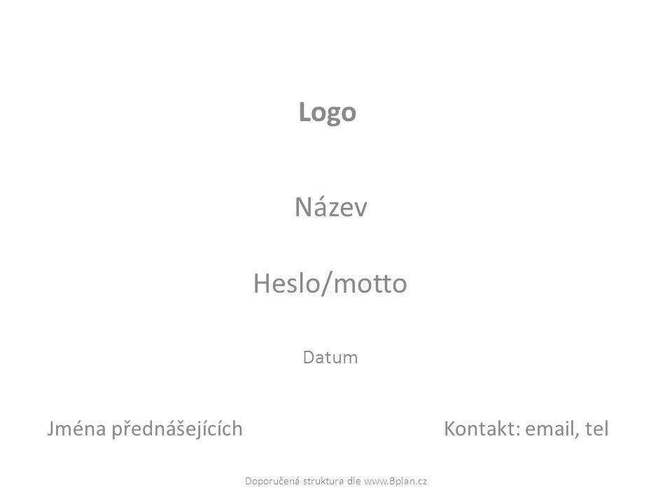 Název Heslo/motto Datum Logo Doporučená struktura dle www.Bplan.cz Jména přednášejícíchKontakt: email, tel