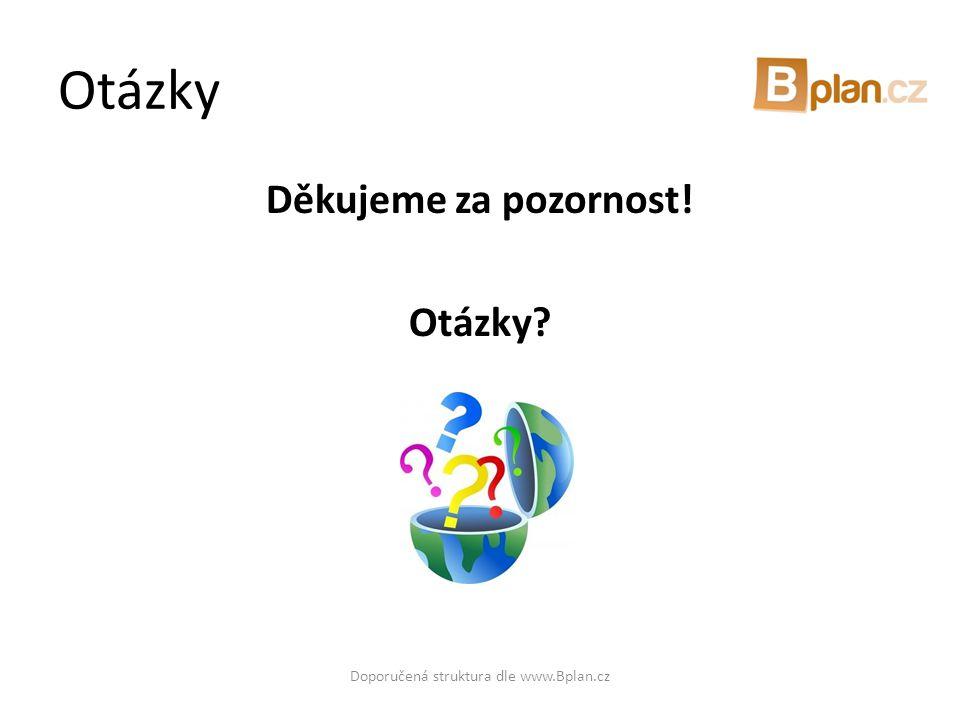 Otázky Děkujeme za pozornost! Otázky? Doporučená struktura dle www.Bplan.cz