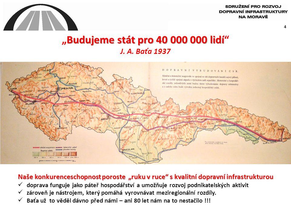 """4 Budujeme stát pro 40 000 000 lidí """"Budujeme stát pro 40 000 000 lidí"""" J. A. Baťa 1937 Naše konkurenceschopnost poroste """"ruku v ruce"""" s kvalitní dopr"""