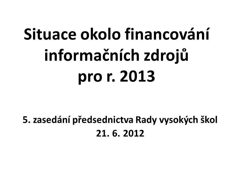 Situace okolo financování informačních zdrojů pro r.