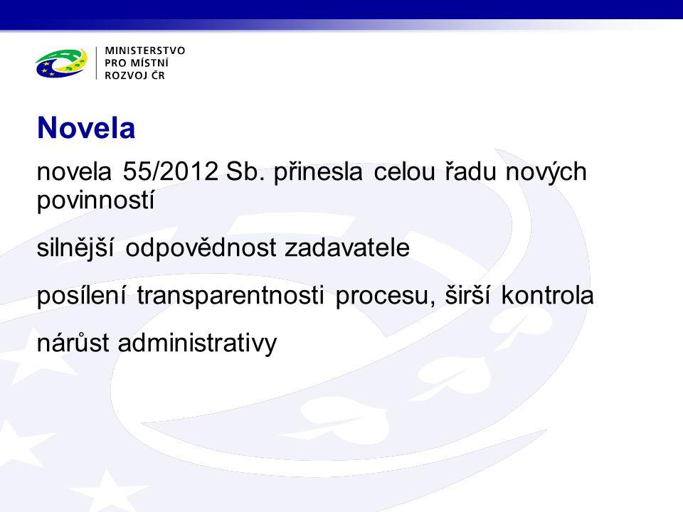novela 55/2012 Sb. přinesla celou řadu nových povinností silnější odpovědnost zadavatele posílení transparentnosti procesu, širší kontrola nárůst admi