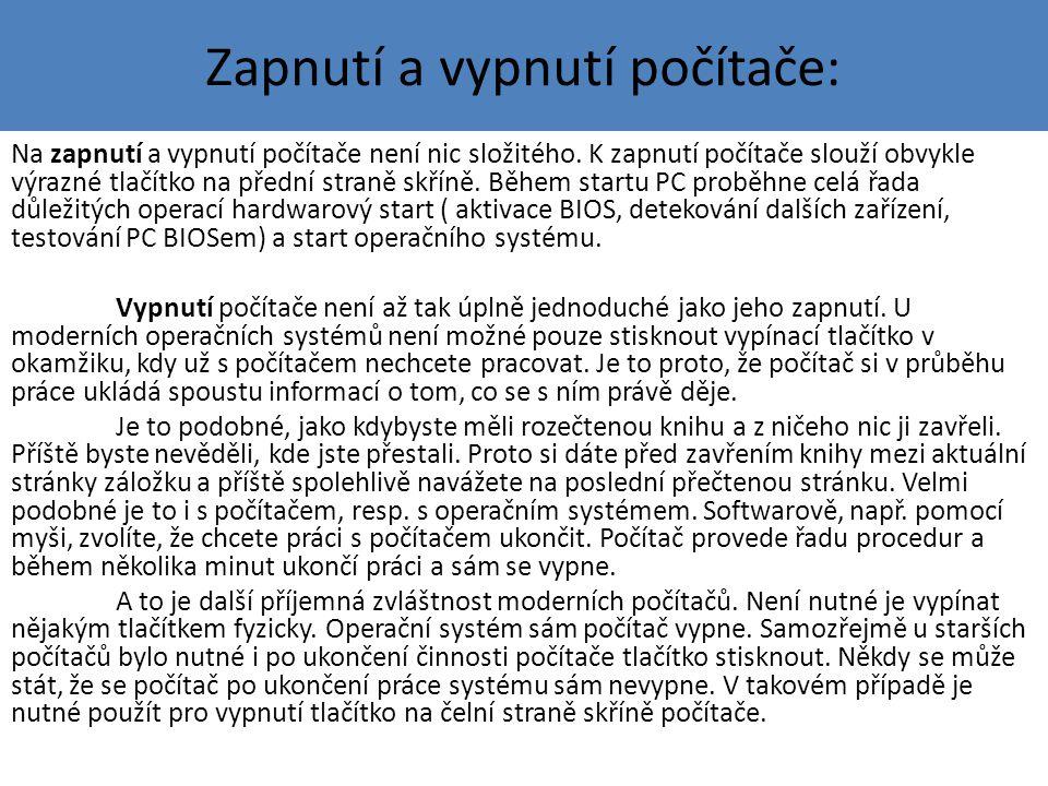 Ukázka vypnutí PC pomocí nabídky START: