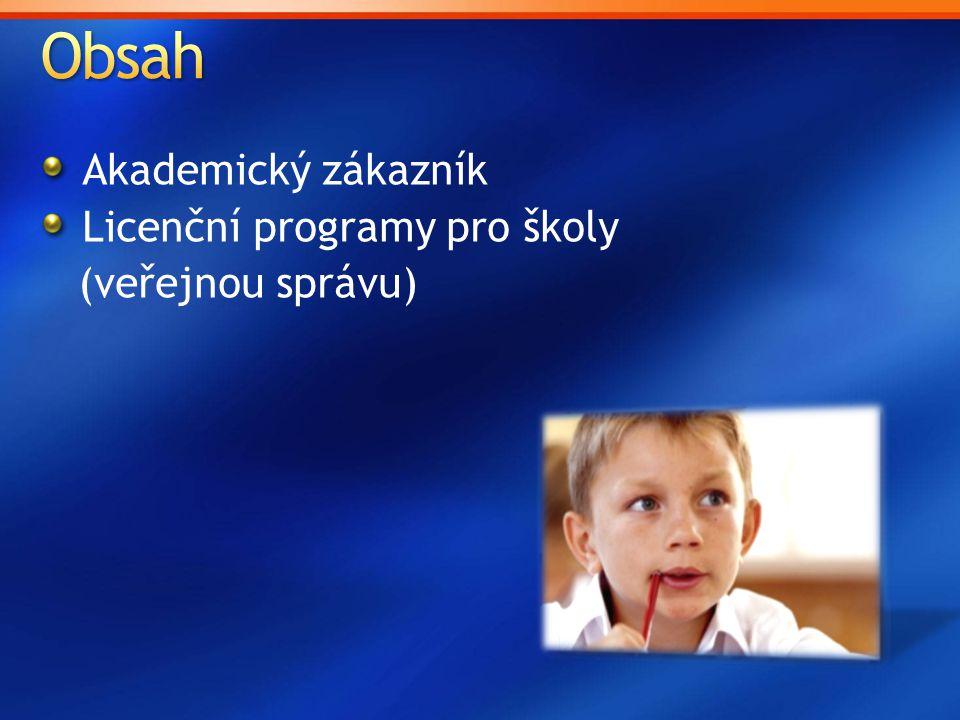 Akademický zákazník Licenční programy pro školy (veřejnou správu)