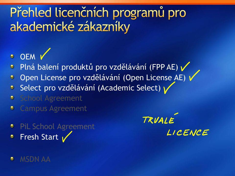 OEM Plná balení produktů pro vzdělávání (FPP AE) Open License pro vzdělávání (Open License AE) Select pro vzdělávání (Academic Select) School Agreement Campus Agreement PiL School Agreement Fresh Start MSDN AA