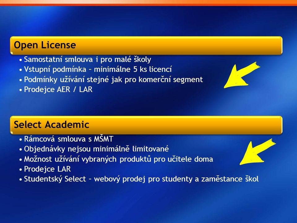 School Agreement •Pro základní, střední školy a předškolní zařízení •Pronájem licencí (1 nebo 3 roky) •Vstupní podmínka 50 jednotek (opravněné počítače) •Pro učitele doma zdarma (kolik PC, tolik učitelů) •Software Assurance •Prodejce AER / LAR Campus Agreement •Pro vysoké školy a univerzity •Pronájem licencí (1 nebo 3 roky) •Vstupní podmínka 300 jednotek (opravnění členové pedagogického sboru) •Pro učitele doma zdarma (kolik členů, tolik licencí) •Prodejce LAR