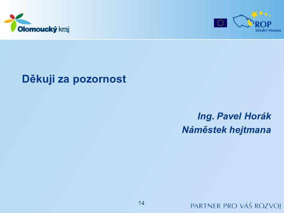 Ing. Pavel Horák Náměstek hejtmana Děkuji za pozornost 14