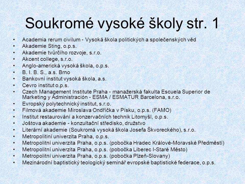 Soukromé vysoké školy str. 1 •Academia rerum civilum - Vysoká škola politických a společenských věd •Akademie Sting, o.p.s. •Akademie tvůrčího rozvoje