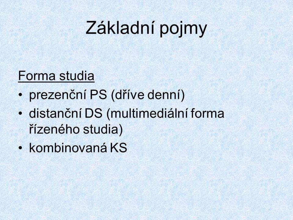 Základní pojmy Forma studia •prezenční PS (dříve denní) •distanční DS (multimediální forma řízeného studia) •kombinovaná KS