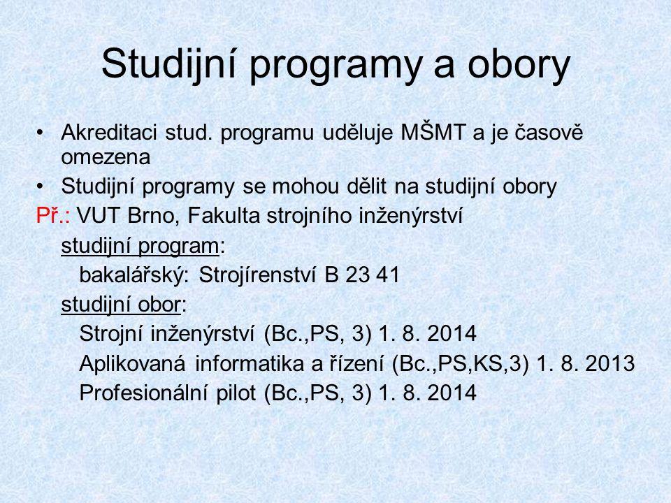 Studijní programy a obory •Akreditaci stud. programu uděluje MŠMT a je časově omezena •Studijní programy se mohou dělit na studijní obory Př.: VUT Brn