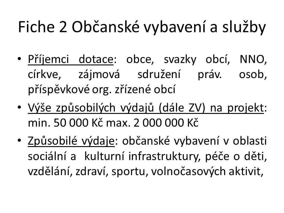 Fiche 2 Občanské vybavení a služby • Příjemci dotace: obce, svazky obcí, NNO, církve, zájmová sdružení práv.