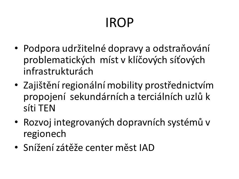 IROP • Podpora udržitelné dopravy a odstraňování problematických míst v klíčových síťových infrastrukturách • Zajištění regionální mobility prostřednictvím propojení sekundárních a terciálních uzlů k síti TEN • Rozvoj integrovaných dopravních systémů v regionech • Snížení zátěže center měst IAD