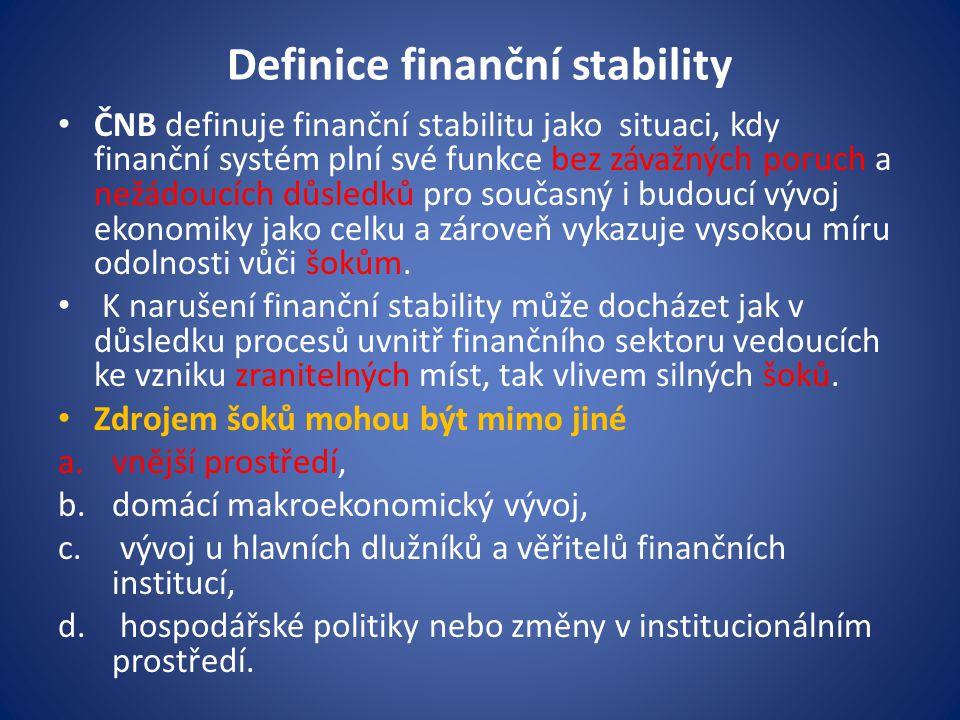 Definice finanční stability - pokračování • Případná interakce zranitelných míst a šoků může vést ke kolapsu systémově významných finančních institucí a narušení funkcí finančního systému při zajištění finančního zprostředkování a platebního styku.
