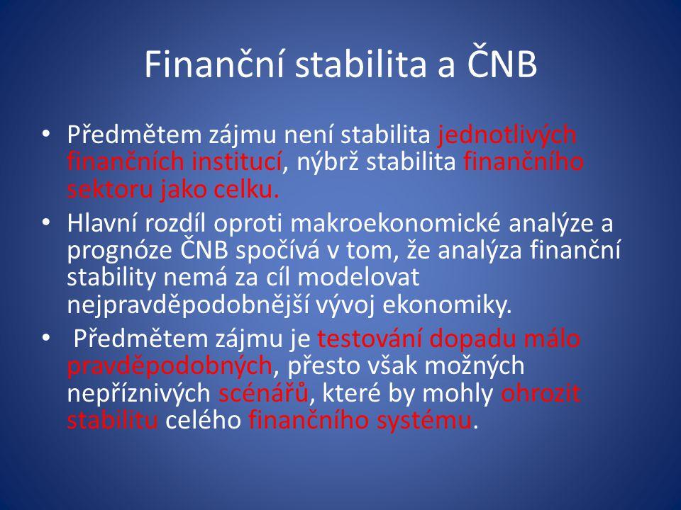 Finanční stabilita a ČNB • Péče o finanční stabilitu je definována v zákoně č.