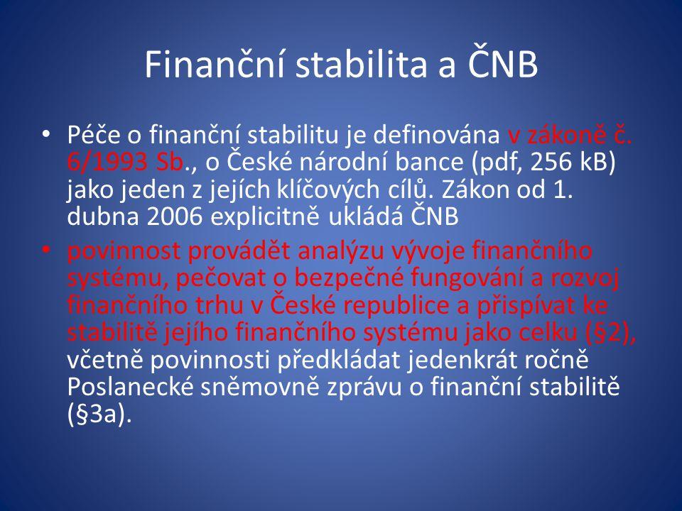 Finanční stabilita a ČNB • ČNB se v rámci plnění cíle finanční stability snaží působit především preventivně, a podrobně proto informuje veřejnost o potenciálních rizicích a faktorech vedoucích k ohrožení finanční stability.