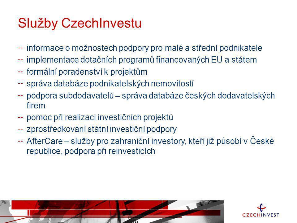 Služby CzechInvestu informace o možnostech podpory pro malé a střední podnikatele implementace dotačních programů financovaných EU a státem formální p
