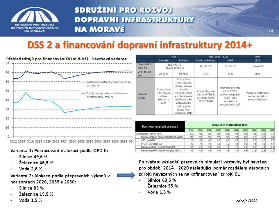 DSS 2 a financování dopravní infrastruktury 2014+ Varianta 1: Pokračování v alokaci podle OPD II: -Silnice 49,6 % -Železnice 46,5 % -Voda 2,6 % Varianta 2: Alokace podle přepravních výkonů v horizontech 2020, 2035 a 2050: -Silnice 83 % -Železnice 15,5 % -Voda 1,5 % Po zvážení výsledků pracovních simulací výstavby byl navržen pro období 2014 – 2020 následující poměr rozdělení národních zdrojů nevázaných se na kofinancování zdrojů EU -Silnice 63,5 % -Železnice 35 % -Voda 1,5 % zdroj: DSS2 10