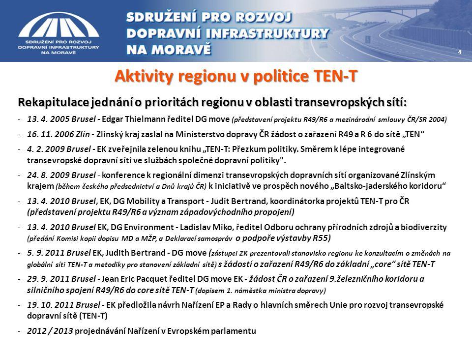 Aktivity regionu v politice TEN-T Rekapitulace jednání o prioritách regionu v oblasti transevropských sítí: -13. 4. 2005 Brusel - Edgar Thielmann ředi