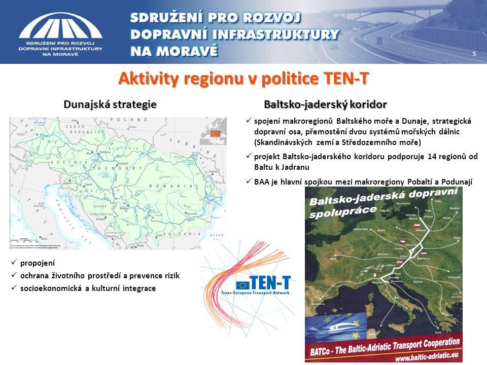 Aktivity regionu v politice TEN-T Dunajská strategie  propojení  ochrana životního prostředí a prevence rizik  socioekonomická a kulturní integrace