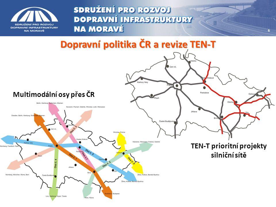 Návrh budoucí transevropské sítě 7 Síť primárních uzlů (primary nodes) městských uzlů (hlavní města a aglomerace nad 1mil.