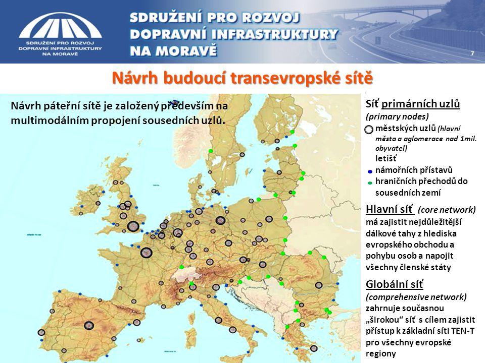 Návrh budoucí transevropské sítě 7 Síť primárních uzlů (primary nodes) městských uzlů (hlavní města a aglomerace nad 1mil. obyvatel) letišť námořních