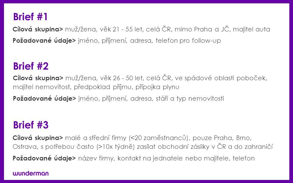 Brief #1 Cílová skupina> muž/žena, věk 21 - 55 let, celá ČR, mimo Praha a JČ, majitel auta Požadované údaje> jméno, příjmení, adresa, telefon pro follow-up Brief #2 Cílová skupina> muž/žena, věk 26 - 50 let, celá ČR, ve spádové oblasti poboček, majitel nemovitost, předpoklad příjmu, přípojka plynu Požadované údaje> jméno, příjmení, adresa, stáří a typ nemovitosti Brief #3 Cílová skupina> malé a střední firmy ( 10x týdně) zasílat obchodní zásilky v ČR a do zahraničí Požadované údaje> název firmy, kontakt na jednatele nebo majitele, telefon