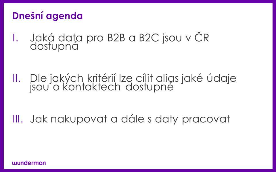 Dnešní agenda I.Jaká data pro B2B a B2C jsou v ČR dostupná II.Dle jakých kritérií lze cílit alias jaké údaje jsou o kontaktech dostupné III.Jak nakupovat a dále s daty pracovat