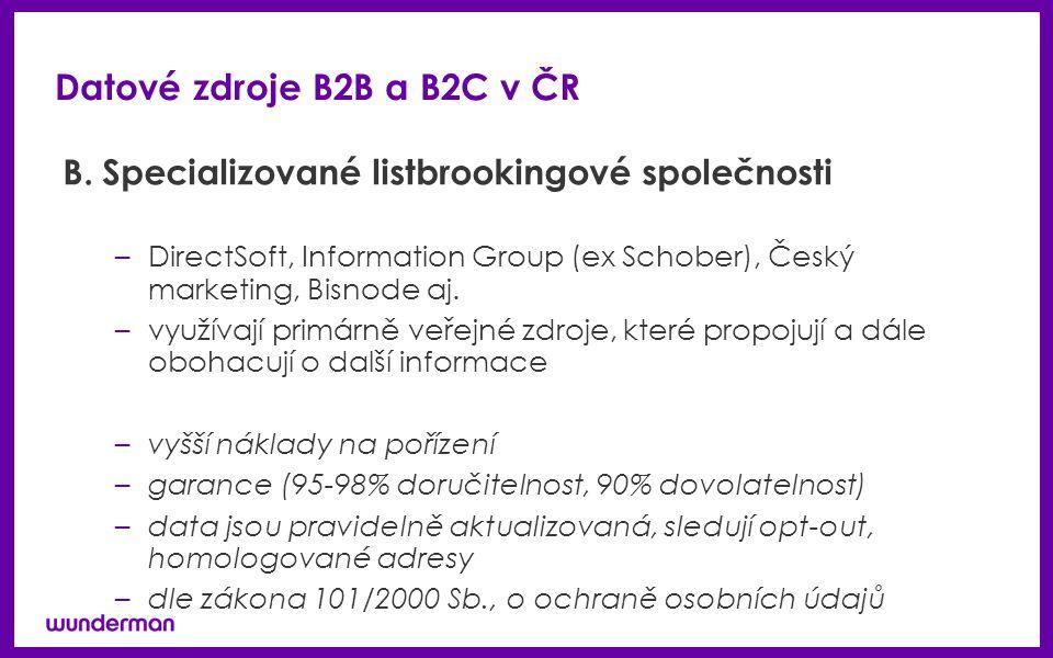 Datové zdroje B2B a B2C v ČR B. Specializované listbrookingové společnosti –DirectSoft, Information Group (ex Schober), Český marketing, Bisnode aj. –