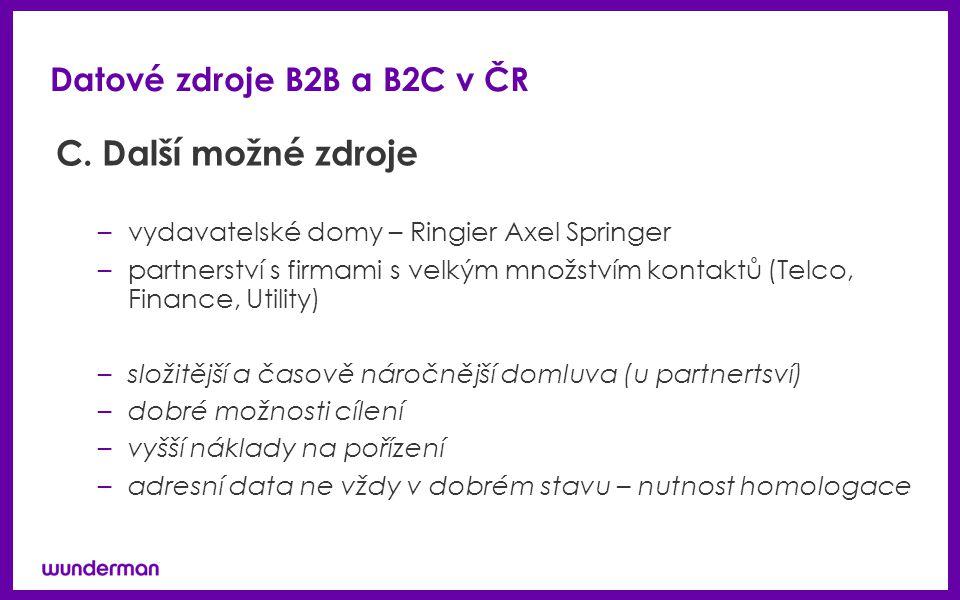 Datové zdroje B2B a B2C v ČR C.