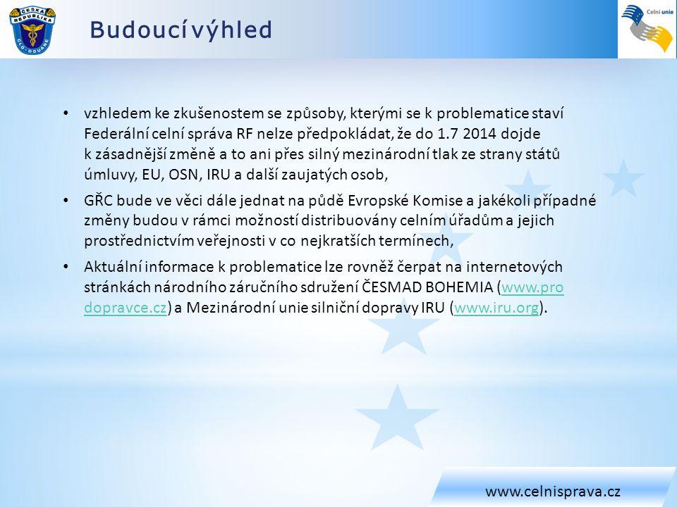 Budoucí výhled www.celnisprava.cz • vzhledem ke zkušenostem se způsoby, kterými se k problematice staví Federální celní správa RF nelze předpokládat,